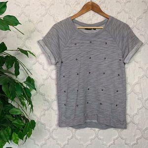 ANA Grey Studded Sweater Tee Shirt